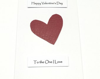 Valentine's Day Card Him Her Husband Wife Boyfriend Girlfriend - Faux Leather Red Heart