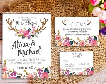 floral bohemian wedding invitation suite, printable boho wedding invitation set, floral boho wedding invitation, boho antler wedding