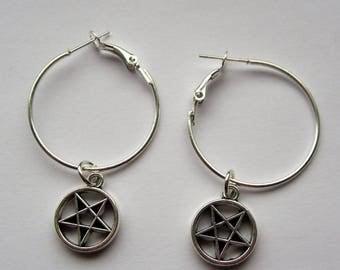 Pentagram Hoop Earrings, Silver Tone, Satanism, Witchcraft