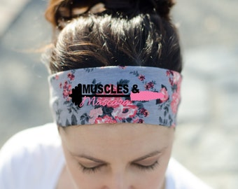 Workout Headband - Fitness Headband - Exercise Headband - Crossfit Headband - Muscles and Mascara Headband - Womens Workout Gear - Headband