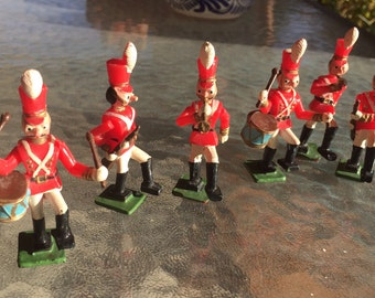 Cake toppers, toy soldiers, drum brigrade, vintage Walton cake toppers, bugle boy, drummer, 6 cake toppers