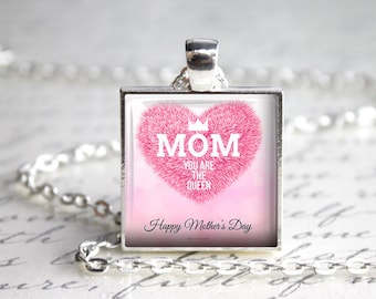 Mother's Day Pendant, 25mm Square Pendant, Gifts For Mom, Mother's Day Gifts
