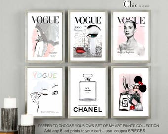 Chanel, Vogue Set Of 6 Prints, Chanel print, Vogue print, PRINTABLE, Fashion Wall Art, INSTANT DOWNLOAD, Home Decor