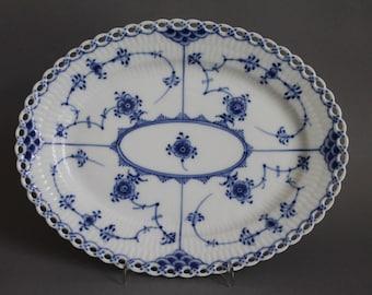 Royal Copenhagen Blue Fluted Full Lace Oval Platter # 1146