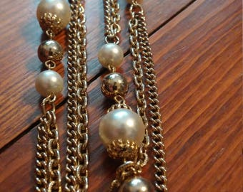 Double Chain Necklace with Gold Tone and Pearl-like Beads