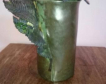 Handmade ceramic urn 'fern' green and gold