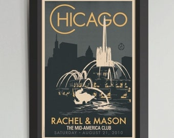 Chicago Buckingham Fountain Personalized Framed Wedding Art (Large)