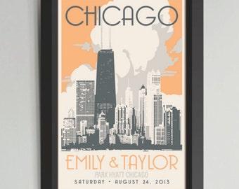 Chicago Gold Coast Personalized Framed Wedding Art (Medium)