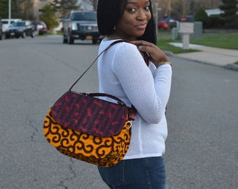 "African Print and Leather ""Omolola"" adjustable convertible shoulder bag by AnkaraNimi"
