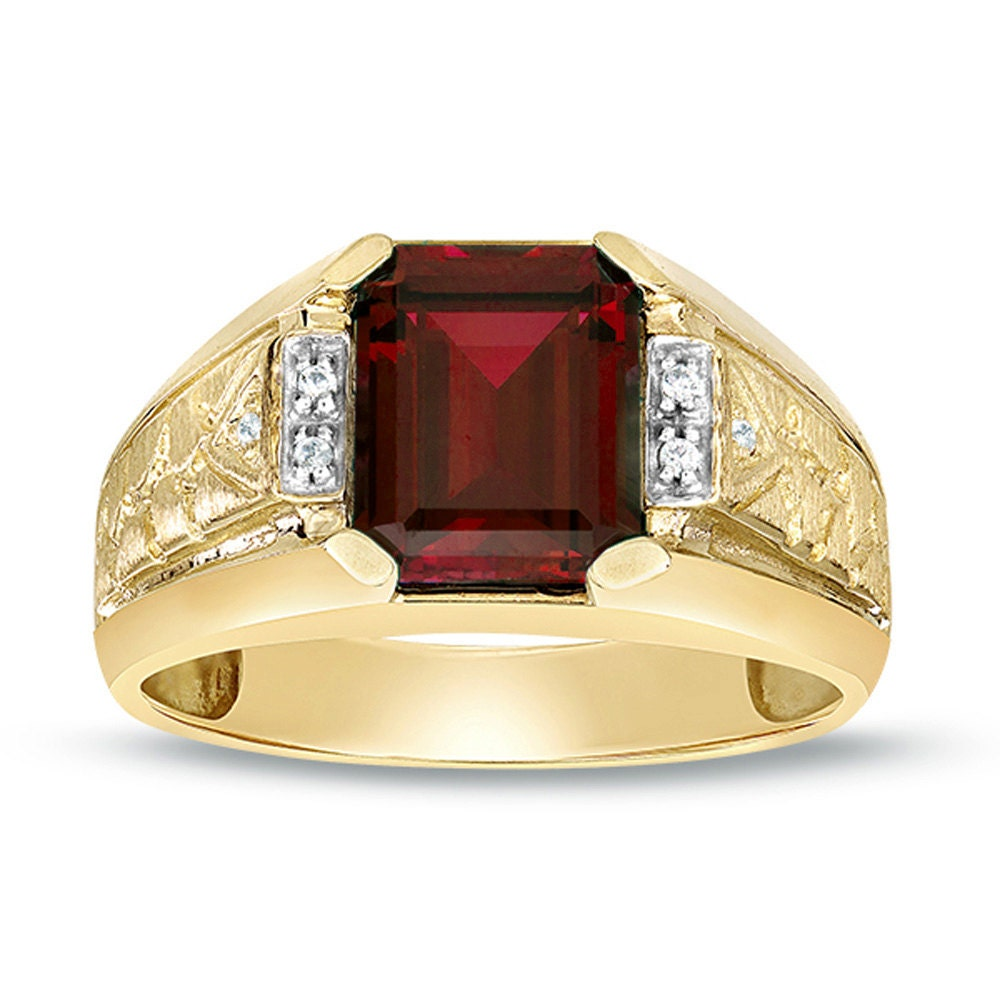 garnet ring gold men 39 s garnet ring yellow gold diamond. Black Bedroom Furniture Sets. Home Design Ideas