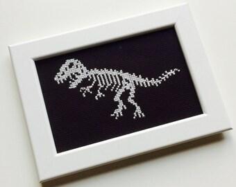 Dinosaur | Raptor | T-Rex | Jurassic World | Skeleton | Bones | Gift | Framed | Cross Stitch |