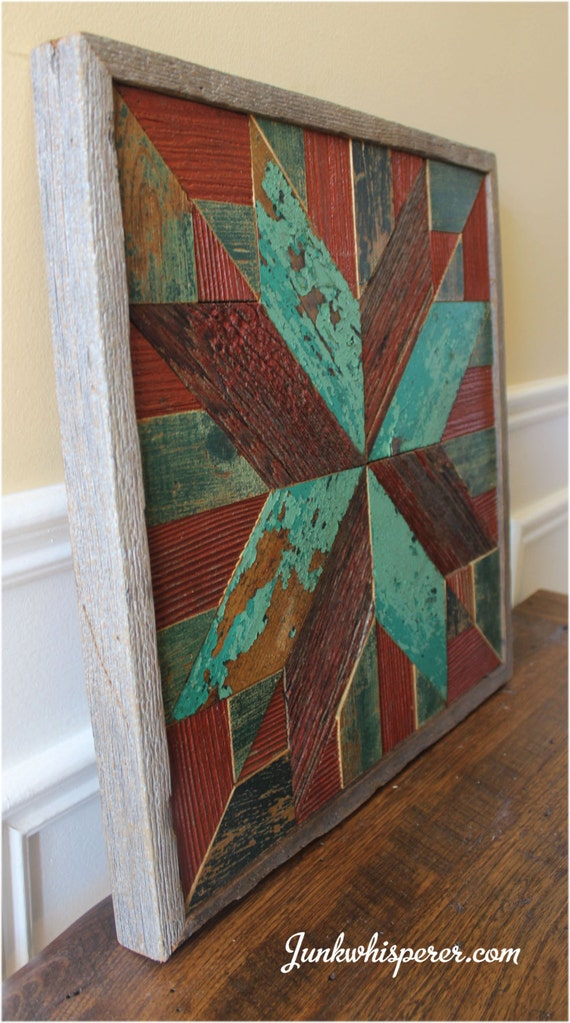 Wood Wall Hanging Art Part - 47: Red Green Star Holiday Quilt Wood Wall Art Wooden Wall Hanging Rustic Wall  Art Reclaimed Wall Art Rustic Quilt Pattern By Junkwhisperer.com
