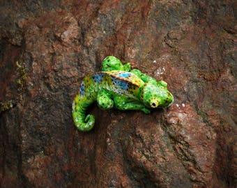 miniature ooak chameleon figurine, miniature chameleon, clay chameleon, lizard, cute chameleon, terrarium decoration, unique
