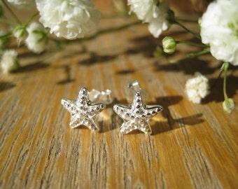 Starfish Mermaid Sterling Silver Stud Earrings