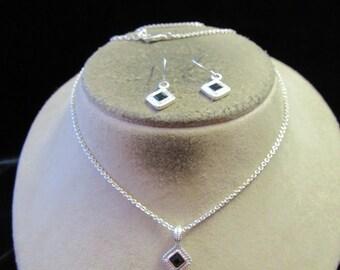 Vintage Silvertone Black Rhinestone Necklace & Pierced Earrings Set