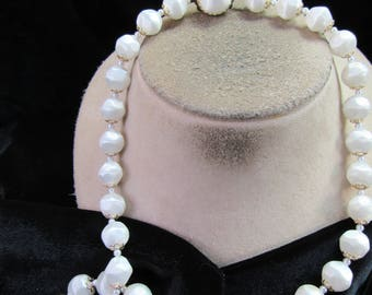Vintage Signed Japan Pearlized Beaded Necklace