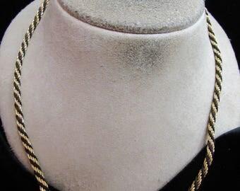 Vintage Signed Trifari Goldtone & Black Rope Necklace