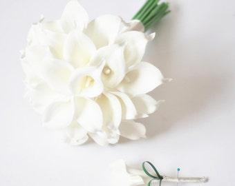 Choose ribbon color,real touch cream ivory white calla lily bouquet,bridal bridesmaid bouquet,wedding bouquet,boutonniere,corsage