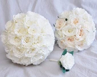 """11.5"""" Cream White Ivory Silk Rose Bouquet Romantic Bouquet Elegant Bridal Bouquet Set"""