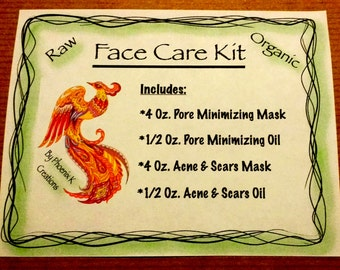 Face Care Kit-Pore Minimizing Mask and Oil, Acne & Scars Mask and Oil