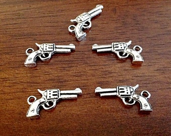 20pcs, Pistol Charms, Antique Silver Charm, 3D Gun Charm, Gun Charm, Double Sided Gun, Hand Gun Charm, Jewelry and Craft Supplies, Findings