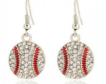 Baseball Earrings- Rhinestone Baseball Earrings