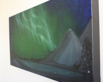 FREE SHIPPING Light up the sky Aurora Borealis, acrylic canvas painting, 12x24   northern lights