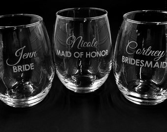 Stemless Wine Glass ~ Wedding Party Wine Glasses ~ Personalized Bridal Party Glasses ~ Personalized Wedding Party Stemless Wine glasses