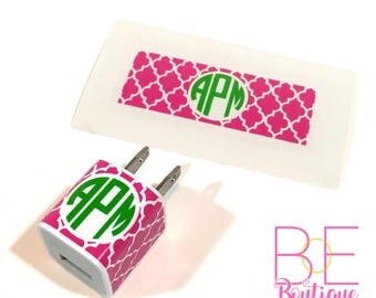 Quatrefoil Monogram iPhone Charger Wrap Decal Sticker (DECAL ONLY)