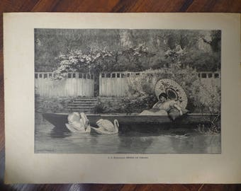 """Old print (double page) 1893 L. C. Nightingale """"Foretaste of Summer"""""""