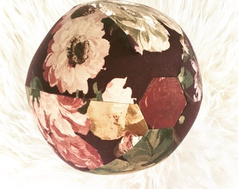 Fabric Balloon Cover by PostalThreads: Repurposed twill weave floral print fabric, bouncy, round, reusable, washable, travel light, ball