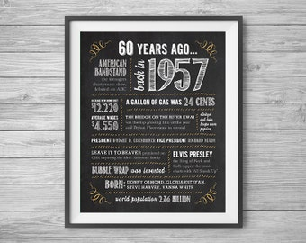 60th Birthday or Anniversary Chalk Sign, Printable 8x10 and 16x20, Party Supplies, 60 Years Ago in 1957, Instant Digital Download