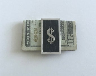 Money Clip, Black and Silver, Vintage Mid Century, Gift for Him, Dollar Sign Money Clip, Faux Black Leather Money Clip