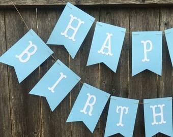 Happy Birthday banner. Happy Birthday banner personalized. Boy Birthday banner. Light Blue birthday banner.