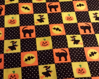 "Halloween Black Cat & Witches Fabric Remnant, 1/2 yd x 36"" W"