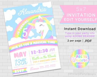 Printable Girls's Unicorn Birthday Party Invitations, Rainbow Unicorn Party, 5x7 Unicorn Invitations, Edit Yourself, Instant Download
