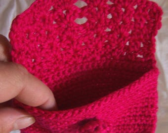Hot Pink Coin Purse with Crochet Button