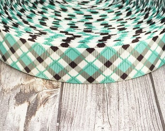 "7/8"" Plaid ribbon - Teal plaid ribbon - Yellow plaid ribbon - Peach plaid ribbon - Pretty ribbon - Grosgrain ribbon - School bow DIY"