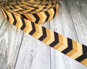 "Chunky chevron ribbon - 1"" Grosgrain ribbon - Black gold - Native theme ribbon - Baby shower ribbon - Fashion ribbon - Art deco ribbon"
