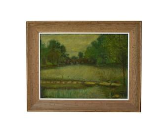 1930's Oil Painting Japanese Gardens Jackson Park Chicago Sam Ostrowsky