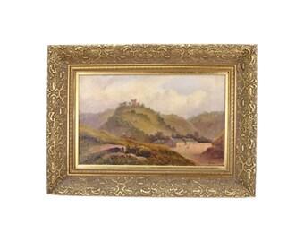 19th Century British Landscape Painting Highland Village Castle Ruins sgnd Jacobi