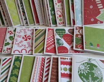 Christmas mini note cards, Bulk mini note cards, Christmas note cards, Bulk notecards, Set of 25 or 100, 3 x 3 cards, No envelopes