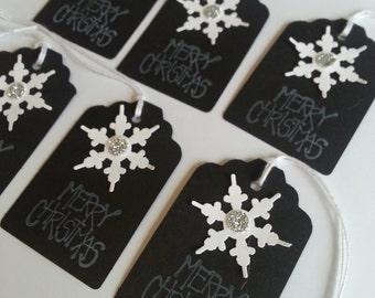 Christmas tags, Black Christmas tags, Snowflake tags, Holiday gift tags, Merry Christmas tags, Set of 10