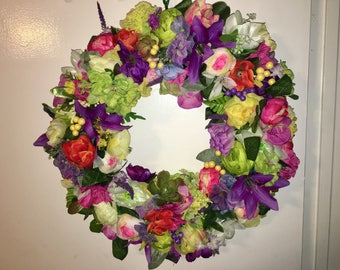 Full bedded floral wreath