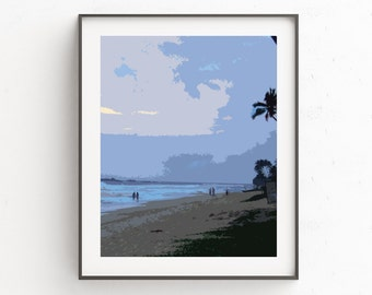 Blue Beach Wall Print, Beach House Wall Print, Downloadable Art, Beach House Decor, Blue Home Decor, Gift Idea For Her, Best Selling Item