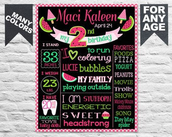 Printable Watermelon First Birthday chalkboard sign - Second b-day chalk board poster banner milestone custom  tutti frutti fruits (313)