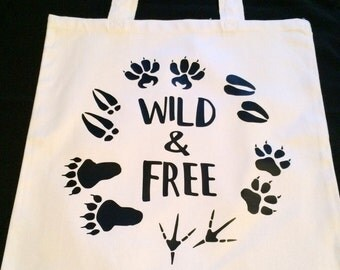 Wild and Free - Animal Tracks Tote Bag - Animal Footprints Tote - Outdoorsy Girl Tote - Country Girl Tote - Female Hunter - Black and White