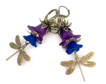 Purple Floral Earrings Antique Brass Lucite Frosted dangle Dragonfly Stering Silver Earring Jewelry Gift Idea Gift for Her
