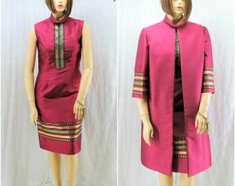 Haute Couture dupioni silk dress and coat 60s formal dress suit size L vintage 1960's evening dress, SunnyBohoVintage