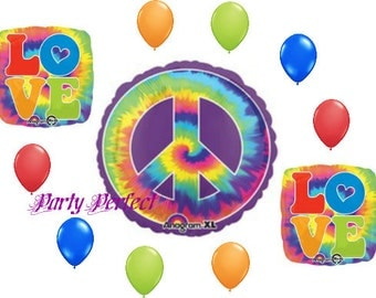 11 pc Love and Peace Sign Tie Dye Balloon Bouquet